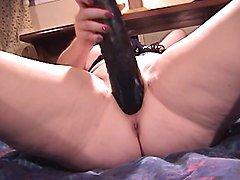Thick solo beauty in her lingerie falls in love with a new giant dildo and vibe