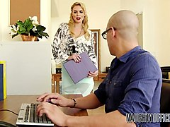 leggy secretary keira nicole seduces bald headed dude and gets fucked on his table